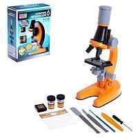 Микроскоп детский 'Юный ботаник', кратность х100, х400, х1200, цвет оранжевый, подсветка