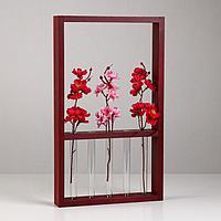 Кашпо деревянное 'Рамка' с пробирками, деревянная ручка, винно-красный, 40х24х4 см