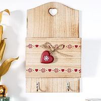 Крючки декоративные дерево с карманом 'Ленты из сердец' 26х15,2х5 см