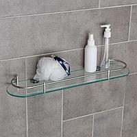 Полка для ванной комнаты, 50x12x4 см, металл, стекло