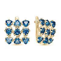Серьги позолота 'Льдинки' 10-07283, цвет голубой в золоте
