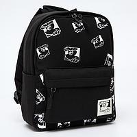 Рюкзак детский, 20*10*26, отд на молнии, 3 н/кармана, черный, Микки Маус и его друзья