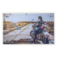 Часы настенные прямоугольные 'Девушка на мотоцикле', стекло, 35х60 см