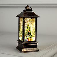 Фигура свет. 'Елка с подарками в бронзовом фонарике' 12х5х5 см, 1 LED, блестки,Т/БЕЛЫЙ