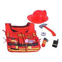 Набор игровой 'Пожарный', 5 предметов, БОНУС книжка-раскраска 'Узнаём профессии вместе', фартук
