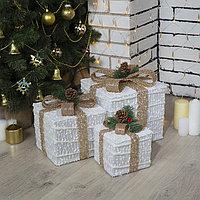 Фигура текстиль 'Подарки белые с бежевой лентой' 15х20х25 см, 60 LED, 220V, Т/БЕЛЫЙ