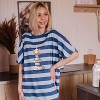Платье женское, цвет полоса сине-голубая, размер 48-50