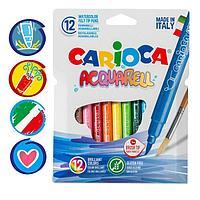 Фломастеры акварельные 12 цветов, Carioca 'Acquarell', 3.0 мм, с кистевым пишущим узлом, смываемые, картон,