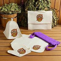 Набор для бани и сауны 5 в 1(сумка,шапка,варежка,коврик,мочалка),с принтом 'Борода' , белый
