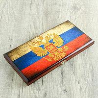 Нарды 'Россия', деревянная доска 40х40 см, с полем для игры в шашки