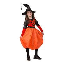 Карнавальный костюм 'Тыквочка', платье, шляпа с пауком на цепочке, р.34, рост 134 см