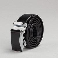 Ремень мужской, пряжка автомат металл, ширина - 3 см, цвет чёрный гладкий
