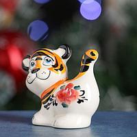Сувенир Тигр 'Мокко' 7,5 см, гжель, цвет