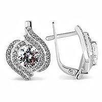 Серьги посеребрение 'Красота' 10-05757, цвет белый в серебре