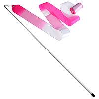 Лента гимнастическая с палочкой 56 см, 6 м, цвет белый/розовый