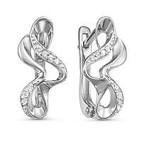 Серьги посеребрение 'Изгиб' 10-05721, цвет белый в серебре