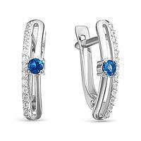 Серьги посеребрение 'Дорожка' 10-07529, цвет бело-синий в серебре
