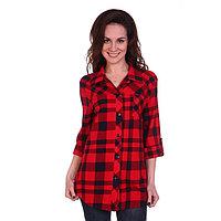 Рубашка женская, цвет красный/клетка, размер 56