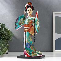 Кукла коллекционная 'Гейша в бирюзовом кимоно с цветами' 32х13х13 см
