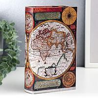 Шкатулка-книга дерево 'Карта Колумба' кожзам 21х13х5 см