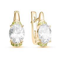 Серьги позолота 'Драгоценность' 10-06117, цвет белый в золоте