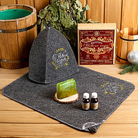 Подарочный набор 'Богатого Нового года!' шапка, коврик, 2 масла, мыло