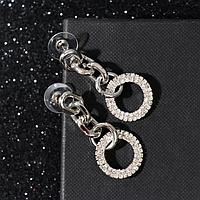 Серьги со стразами 'Богиня' кольца, цвет белый в серебре