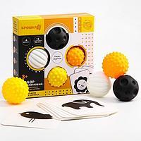 Набор развивающий тактильные мячики и обучающие карточки по методике Гленна Домана