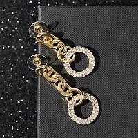 Серьги со стразами 'Богиня' кольца, цвет белый в золоте