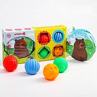 Развивающий набор 'В лесу' книжка-игрушка, тактильные массажные мячики 4 шт., цвета/формы МИКС