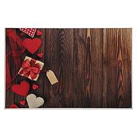 Фотофон винил 'Вязаные сердца, подарок и коричневые доски' 80х125 см