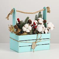 Ящик для декора МДФ 25х15х30 см 'Домик' серо-голубой