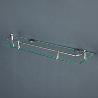 Полка для ванной комнаты, 40x12x6 см, нержавеющая сталь, стекло