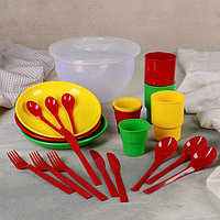 Набор посуды дорожный на 3 персоны 'Пчёлка', цвет МИКС