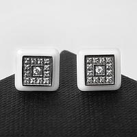 Пусеты керамика 'Квадрат', цвет белый в серебре