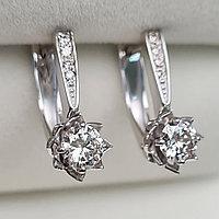 Золотые серьги с бриллиантами 0.66Ct SI2/K, Ex-Cut, фото 1