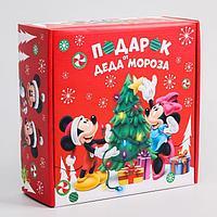 Коробка подарочная складная 'С Новым Годом! Подарок деда Мороза', Микки Маус, 24.5 x 24.5 x 9.5 см
