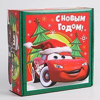 Коробка подарочная складная 'С Новым Годом', Тачки, 24.5 x 24.5 x 9.5 см