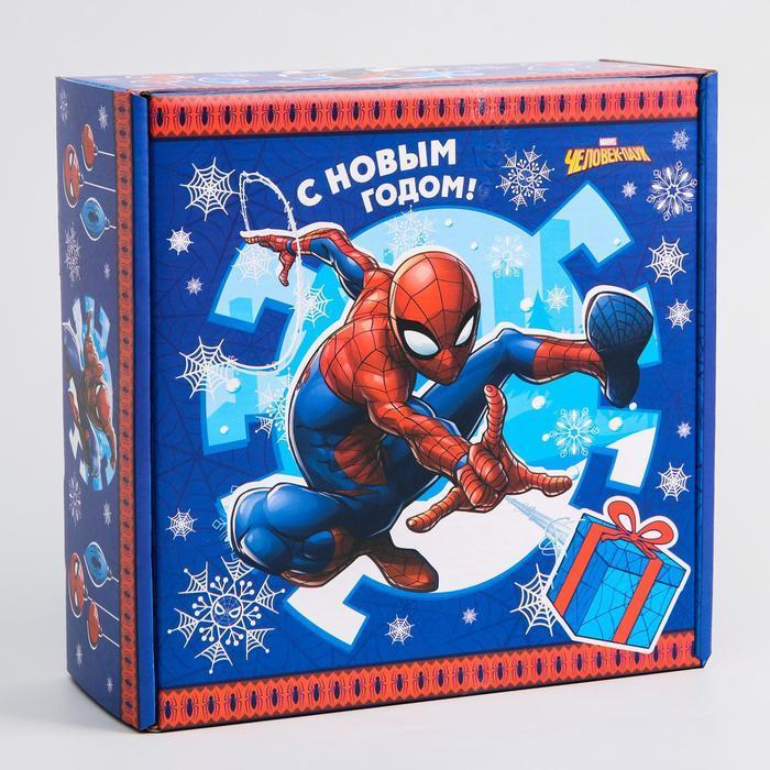 Коробка подарочная складная 'С Новым Годом', Человек-паук, 24.5 x 24.5 x 9.5 см - фото 1