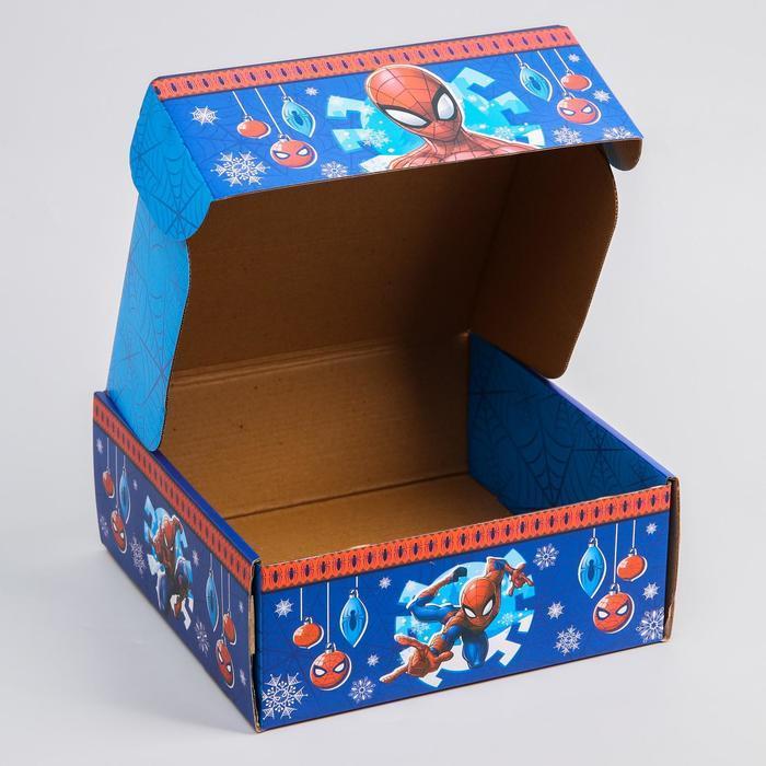Коробка подарочная складная 'С Новым Годом', Человек-паук, 24.5 x 24.5 x 9.5 см - фото 4