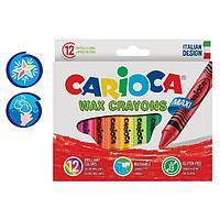 Мелки восковые 12 цветов Carioca 'Maxi Wax Crayons' 110 мм, диаметр 12 мм, круглые, в картонной коробке