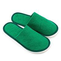Тапочки мужские махровые, закрытый нос, цвет зелёный, размер 42-45