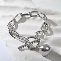 Браслет металл 'Цепь' тогл и сфера, цвет серый, 21,5см