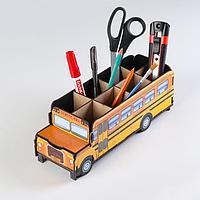 Подставка для канцелярии деревянная 'Школьный автобус', с принтом