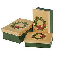Набор коробок 3в1 'Рождественский венок', 22 х 16 х 8,5 - 18 х 12 х 5,5 см