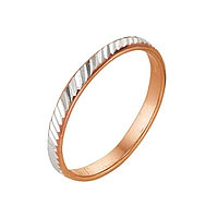 Кольцо 'Обручальное' с алмазной резкой, узкое, позолота, 17 размер