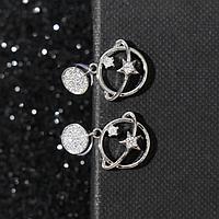 Серьги со стразами 'Орбита' два кольца, цвет белый в серебре