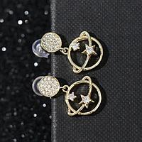 Серьги со стразами 'Орбита' два кольца, цвет белый в золоте