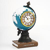 Часы настольные 'Глобус', дискретный ход, 20 х 10 см, d6 см