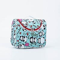 Косметичка-сумка, отдел на молнии, цвет бирюзовый, 'Панды'